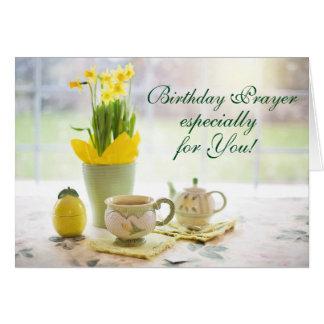 Fiesta del té y narcisos de la escritura del rezo tarjeta de felicitación