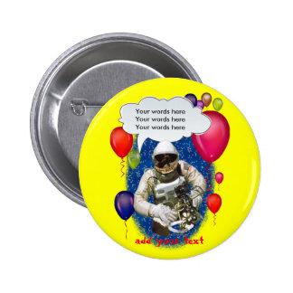 Fiesta del tema del cumpleaños del astronauta chapa redonda 5 cm