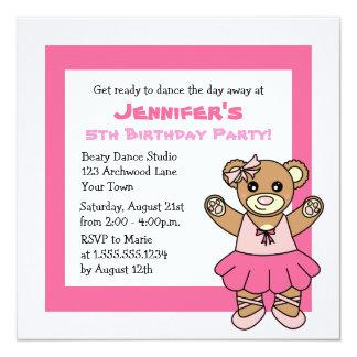 Fiesta del tema del oso de peluche de CuteBallet Invitación 13,3 Cm X 13,3cm