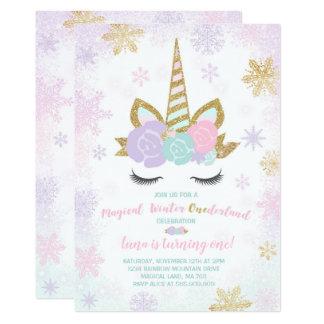 Fiesta del unicornio del invierno de la invitación