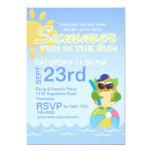 Fiesta del verano con el búho lindo invitación 12,7 x 17,8 cm