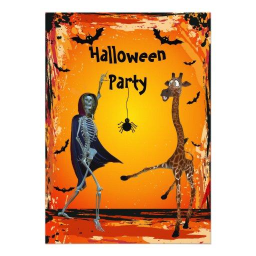 Fiesta divertido de Halloween de la jirafa y del e Anuncio