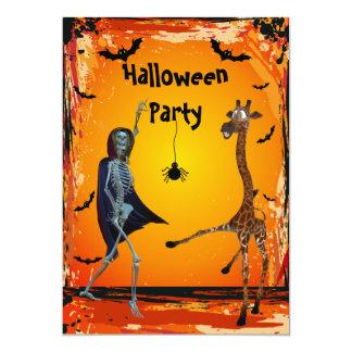 Fiesta divertido de Halloween de la jirafa y del Invitación 12,7 X 17,8 Cm
