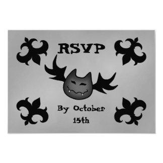 Fiesta divertido lindo RSVP de Halloween del palo Comunicados