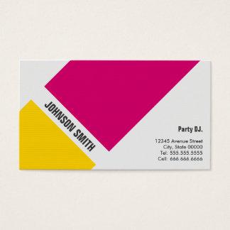 Fiesta DJ - Amarillo rosado simple Tarjeta De Visita