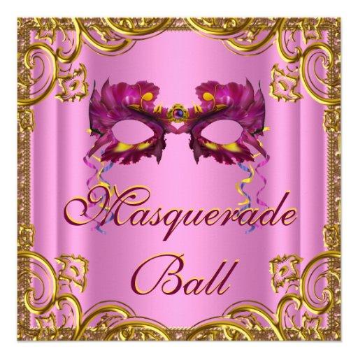 Fiesta elegante de la mascarada del rosa y del oro anuncio