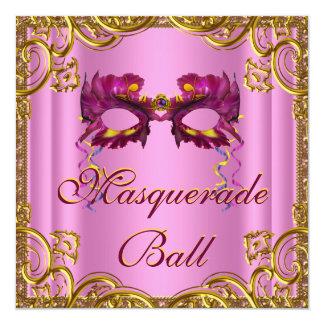 Fiesta elegante de la mascarada del rosa y del oro invitación 13,3 cm x 13,3cm