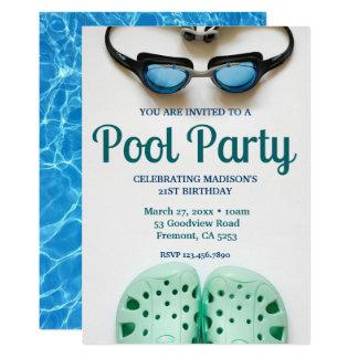 Fiesta en la piscina azul del cumpleaños de las invitación 12,7 x 17,8 cm