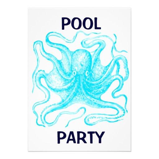 Fiesta en la piscina azul del pulpo invitaci n 12 7 x 17 8 for Pulpo para piscina