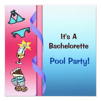 Fiesta en la piscina Bachelorette Invitación 13,3 Cm X 13,3cm