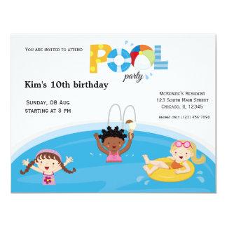 Fiesta en la piscina (chica) comunicado personalizado