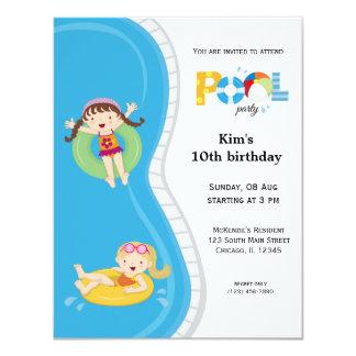 Fiesta en la piscina (chica) invitación 10,8 x 13,9 cm