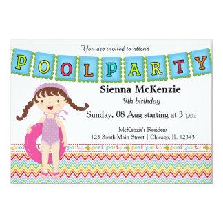 Fiesta en la piscina (chica) invitaciones personalizada
