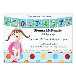 Fiesta en la piscina (chica) invitacion personal