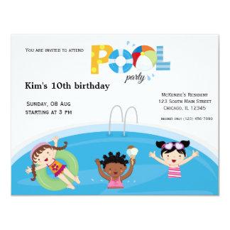 Fiesta en la piscina (chica) invitaciones personales