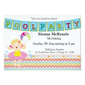 Fiesta en la piscina (chica) invitación 12,7 x 17,8 cm
