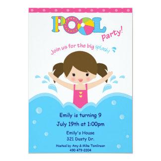 Fiesta en la piscina - chica invitación 12,7 x 17,8 cm