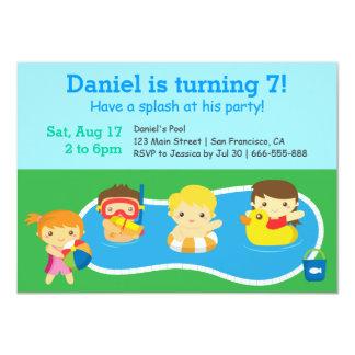 Fiesta en la piscina colorida del cumpleaños del comunicados personales