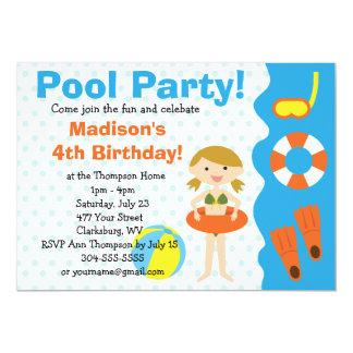 Fiesta en la piscina de encargo del cumpleaños del invitación 12,7 x 17,8 cm