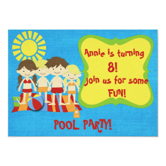 Fiesta en la piscina de la diversión invitación 12,7 x 17,8 cm