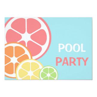 Fiesta en la piscina de la fruta cítrica invitación 12,7 x 17,8 cm