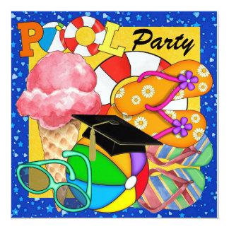 Fiesta en la piscina de la graduación - SRF Invitación 13,3 Cm X 13,3cm