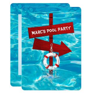 fiesta en la piscina de la natación invitación 12,7 x 17,8 cm