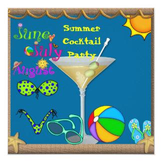 Fiesta en la piscina de Martini de la diversión Invitación 13,3 Cm X 13,3cm