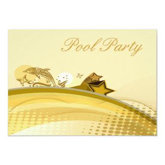 Fiesta en la piscina de oro del extracto del invitacion personalizada