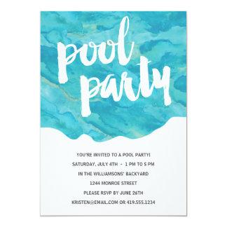 Fiesta en la piscina del chapoteo el | del patio invitación 12,7 x 17,8 cm
