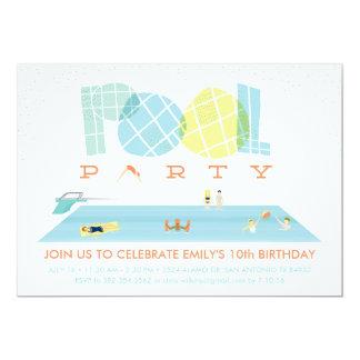 Fiesta en la piscina del chapoteo invitación 12,7 x 17,8 cm