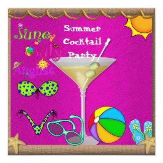 Fiesta en la piscina del cóctel de la diversión invitación 13,3 cm x 13,3cm