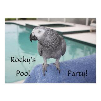 Fiesta en la piscina del gris africano invitación 12,7 x 17,8 cm