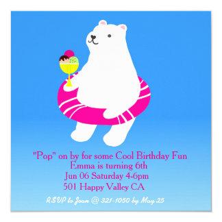 Fiesta en la piscina del oso polar invitación 13,3 cm x 13,3cm