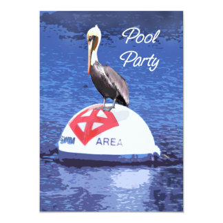 Fiesta en la piscina del salvavidas del pelícano invitación 12,7 x 17,8 cm