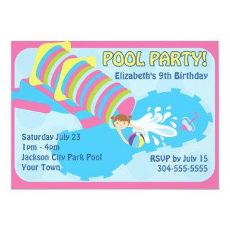 Fiesta en la piscina del tobogán acuático invitación 12,7 x 17,8 cm
