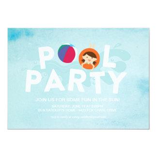 Fiesta en la piscina del verano invitación 12,7 x 17,8 cm