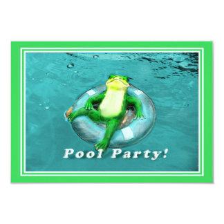 Fiesta en la piscina divertida de la rana invitación 8,9 x 12,7 cm