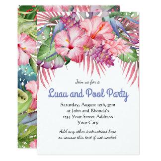 Fiesta en la piscina floral tropical de Luau de la Invitación 12,7 X 17,8 Cm