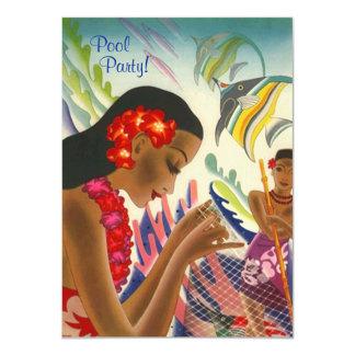 Fiesta en la piscina hawaiana INVITATON de los Invitación 11,4 X 15,8 Cm