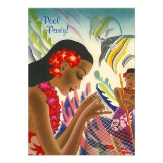 Fiesta en la piscina hawaiana INVITATON de los leu Anuncios