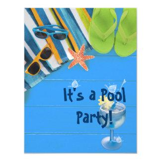 Fiesta en la piscina invitación 10,8 x 13,9 cm