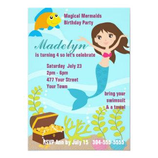 Fiesta en la piscina mágica de las sirenas invitación 12,7 x 17,8 cm