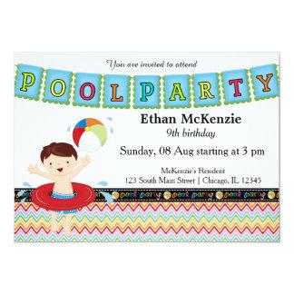 Fiesta en la piscina (muchacho) invitacion personal