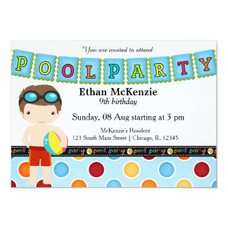 Fiesta en la piscina (muchacho) invitación 12,7 x 17,8 cm