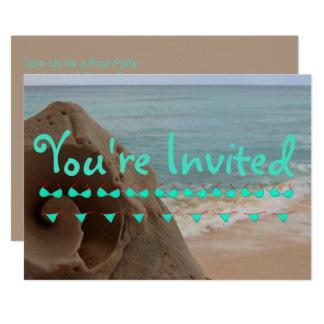 Fiesta en la piscina personalizada del tema el | invitación 12,7 x 17,8 cm