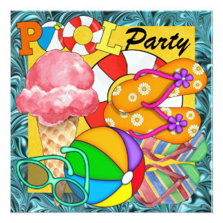Fiesta en la piscina - SRF Invitación Personalizada