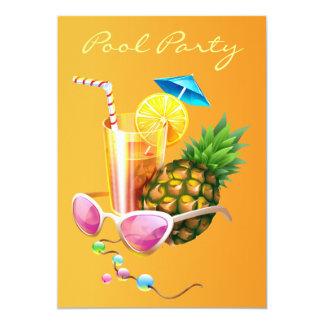 Fiesta en la piscina tropical del cóctel invitación 12,7 x 17,8 cm