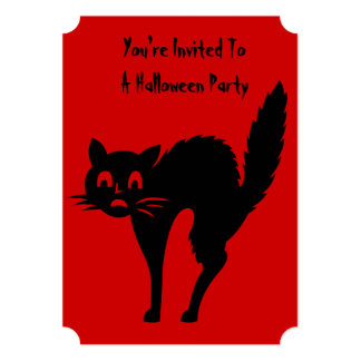 fiesta enojado divertido de Halloween del gato Invitación 12,7 X 17,8 Cm