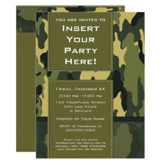 Fiesta enrrollado - los militares verde oscuro invitación 16,5 x 22,2 cm